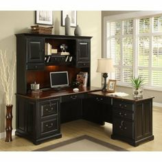 Riverside Bridgeport L-Shaped Computer Desk with Optional Hutch by Riverside Furniture Corp. $1460.25. Whether you live to work or work to live, the Riverside Bridgeport L-Shaped Computer Desk with Optional Hutch is there for you. Crafted with a classical design sensibility, this traditional L-shaped computer desk comes with a handful of distinctly modern features, giving it a contemporary air of efficient functionality.Constructed of poplar hardwood solid and en...