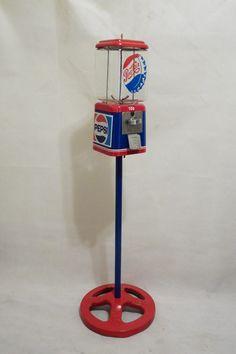 vintage Acorn gumball machine Pepsi cola glass globe + Ford stand