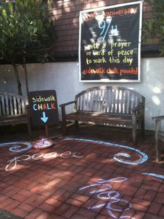 Use sidewalk chalk to have people write prayers for prayer station or before dinner, or retreat, etc.