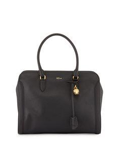 V2DVN Alexander McQueen Medium Padlock  Zip-Around Tote Bag, Black