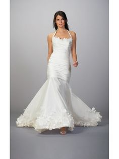 Cheap TAFFETA HALTER TOP MERMAID WEDDING DRESS WITH DRAPED SKIRT 2012 at Weddingdressunion.com