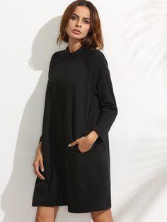 Robe sweat-shirt côtelé manche raglan - noir-French SheIn(Sheinside)