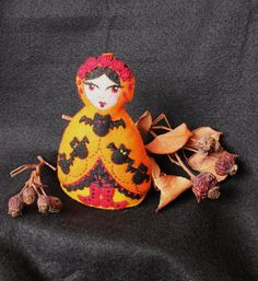 New 2013 Style - Medium Matryoshka - Hand Embroidered Felt Halloween Vampire Doll with Bats and Blood Red Roses
