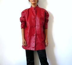 French Vintage 80s Red Leather Jacket by bOmode on Etsy, $118.00