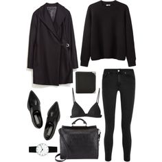 """⚫️⚫️⚫️"" by basic-appeal on Polyvore"