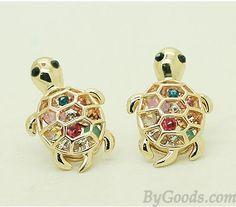 Lovely Cute Rhinestone Turtle Animal Earrings