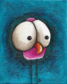 "Original acrylic painting canvas illustration whimsical art bird pink 8x10"" #IllustrationArt"