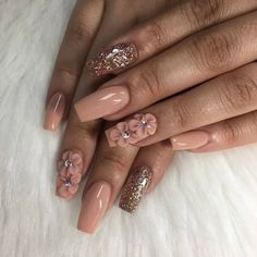 ideas for nails acrilico beige Summer Acrylic Nails, Best Acrylic Nails, Dope Nails, 3d Nails, 3d Nail Art, 3d Flower Nails, Pretty Nail Art, Fancy Nails, Stylish Nails