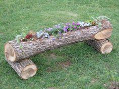 I like this idea Diy Garden Projects, Garden Crafts, Pinterest Garden, Garden In The Woods, Flower Planters, Flower Boxes, Autumn Trees, Yard Landscaping, Yard Art