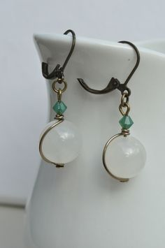 White Jade & Green Pacific Opal Swarovski Crystal and Bronze Earrings £7.00