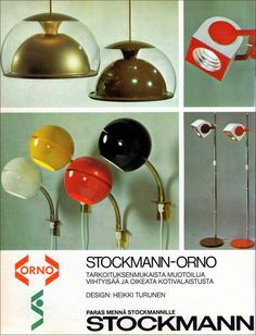 Stockmann-Orno advertisement from Avotakka magazine (1976) including lights designed by Heikki Turunen; Tupla-Kupla, Pallukka in four colors and Versus wall and floor lights.