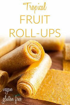 Tropical Fruit Roll-Ups (raw, vegan, gluten free, suagr free) – This homemade fruit leather recipe is an easy healthy snack. Made in a dehydrator. Raw Vegan Recipes, Vegan Dessert Recipes, Healthy Vegan Snacks, Fruit Recipes, Vegan Appetizers, Healthy Recipes, Healthy Habits, Breakfast Recipes, Snack Recipes