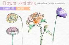 Watercolor Clip Art  Flowers Floral by MariaBPaintsClipArt on Etsy