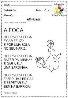 "Atividades Escolares: Atividades com o poema ""A foca"", Vinícius de Moraes Professor, Word Search, Diabetes, Rhyming Activities, 1st Day Of School, Letter F, Art & Literature, Teacher"