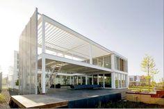 Steel Study House II by Archipelontwepers. White steel and wood...nice.