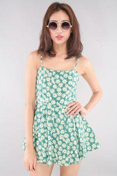 Mosle Daisy Romper Dress - Green | RUNWAY BANDITS