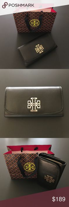 """Brand NWT Tory Burch Britten Duo Envelope Wallet A Tory Burch Britten Duo Envelope Continental Wallet crafted in soft black pebbled leather with gold tone hardware. Featuring a fold over flap with snap closure, 2 pinsnaps, a zipper pocket, back compartment including 8 credit card slots, 2 bill pockets, 1 compartment and 1 exterior slit pocket. Dimensions: L: 7.79"""" x H: 4.30"""" Tory Burch Bags Wallets"""