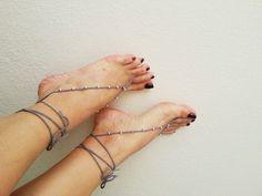 Grey & silvery Oriental barefoot sandals - Feet Accesories - Summer - Footwear - nude shoes sandles - foot jewelry, yoga, beach