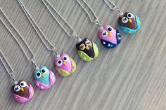 Polymer Clay Owl pendentif avec perles de verre Swarovski éléments