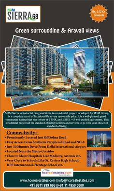 """Top most Residential project """"M3M Sierra"""" in sector 68 of Gurgaon, offering 2 BHK and 2 BHK + S well-crafted apartments with lush green surrounding & Aravali views."""