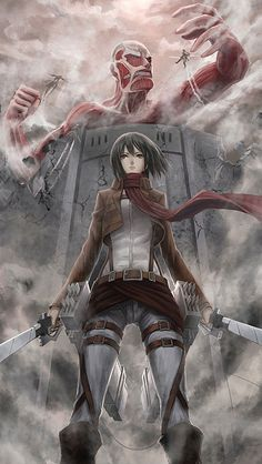Colossal Titan & Mikasa Ackerman - Shingeki no Kyojin / Attack on Titan,Anime Mikasa, Manga Anime, Attack On Titan Fanart, Attack Titan, Attack On Titan Tattoo, Watch Attack On Titan, Animes Wallpapers, Iphone Wallpaper, Otaku
