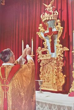 "bsirm: This is the Mass This picture is from the title page of a 1958 book called ""This is the Mass."" It has pictures of Bishop Fulton Sheen as he celebrates the Tridentine Latin Mass. (by RNRobert) Fulton Sheen, Catholic Mass, Roman Catholic, Trinidad, Religion, Christ The King, Catholic Quotes, Daughters Of The King, Papa Francisco"