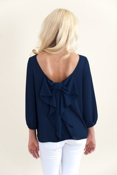Just Too Cute Blouse-Navy