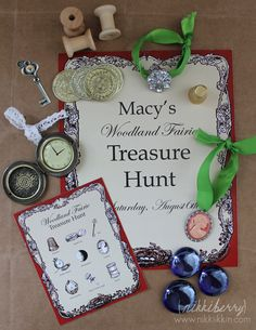 "Game for fairy party My own variation is.... treasure hunt to find lost things and then using them to help decorate a fairy house...big brothers can be ""the lost boys"" and to play along with the theme and use stuff for little treasure boxes."