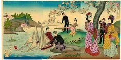 1877 Toyohara Chikanobu wood block print (1838- 1912) Japan - Boy Floating…