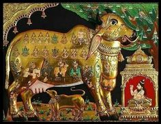 """Kamadhenu , also known as Surabhi, is a divine bovine-goddess described in Hindu mythology as the mother of all cows. She is a miraculous """"cow of plenty"""" who provides her owner whatever he desires and is often portrayed as the mother of other cattle as well as the eleven Rudras."""