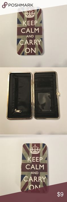 Keep calm and carry-on wallet Never used. Clean. No marks. No tears. No stains. Hinge in good order Bags Wallets
