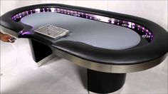 Poker Table with LED Lights. The Vega by Straight Poker Supplies Casino Party Games, Casino Night Party, Casino Theme Parties, Poker Supplies, Custom Poker Tables, Wine Games, Vegas Theme, Chicken And Shrimp Recipes, Casino Cakes