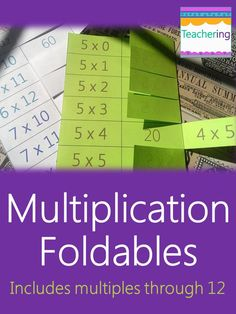 Multiplication foldables for mastering multiplication facts! No more losing math flashcards. Shows commutative property. Perfect math centers, practice homework, or print at 85% for interactive notebooks (ISNs). Multiplication facts 0 through 12. Could easily differentiate multiplication practice by giving students different foldable pages based on their current fact mastery!