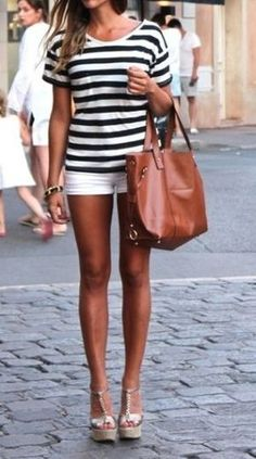 black and white striped top, white shorts, wedges, tan tote bag, summer outfit