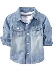 Long-Sleeve Chambray Shirts for Baby
