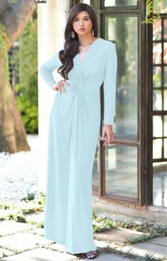 093fe2e56f8 AUDREY - Flowy Long Sleeve Maxi Dress Gown Casual Muslim Islamic