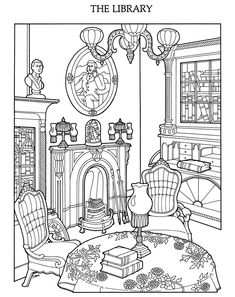 Free The Victorian House Adult Coloring Sheet