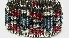 Custom Safety Pin Tribal Cuff Wrist Beaded Bracelet by temmadolla, $15.00