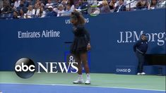 Shocking US Open final as Serena Williams loses, breaks her racket Us Open Final, Emirates Airline, Professional Tennis Players, Good Morning America, Maria Sharapova, 16 Year Old, Serena Williams, Abc News