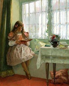 MacEwen, Walter (b,1860)– Girl Reading Book on Windowsill -2a
