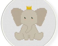 Elephant Prince PDF Cross Stitch Pattern Needlecraft - Instant Download - Modern Chart