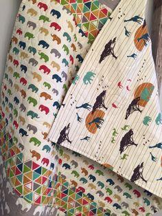 Safari elephant baby quilt, gender neutral crib bedding, elephant nursery, zoo animals, giraffe antelope birds, red blue green orange yellow by 31RubiesQuiltStudio on Etsy