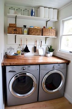The laundry room cabinets in this space needed to maximize long-term storage but maintain counter space for workaday tasks.