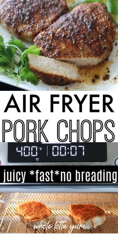 JUICY Air Fryer Pork Chops Recipe with Rub - Whole Lotta YumYou can find Air fryer recipes and more on our website.JUICY Air Fryer Pork Chops Recipe with Rub - Whole Lotta Yum Air Fryer Recipes Snacks, Air Frier Recipes, Air Fryer Recipes Breakfast, Air Fryer Dinner Recipes, Air Fryer Pork Chops, Air Fryer Recipes Pork Chops, Air Fried Food, Air Fryer Healthy, Cooking Recipes