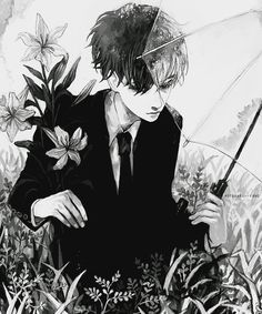 monochrome, anime, and boy image