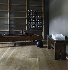 Nice vintage style home gym - lots of wood