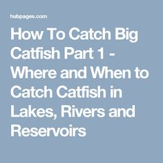 How To Catch Big Catfish Part 1 - Where and When to Catch Catfish in Lakes, Rivers and Reservoirs