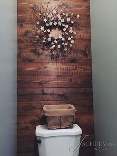 DIY Pallet or Wood Panel Bathroom Accent Wall
