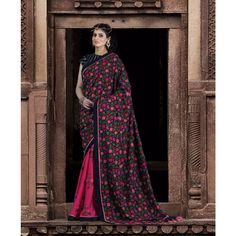 Pink and Black Silk Designer #Saree With Blouse- $160.27