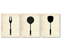 Kitchen Wall Art Trio  Kitchen Utensils by SusanNewberryDesigns